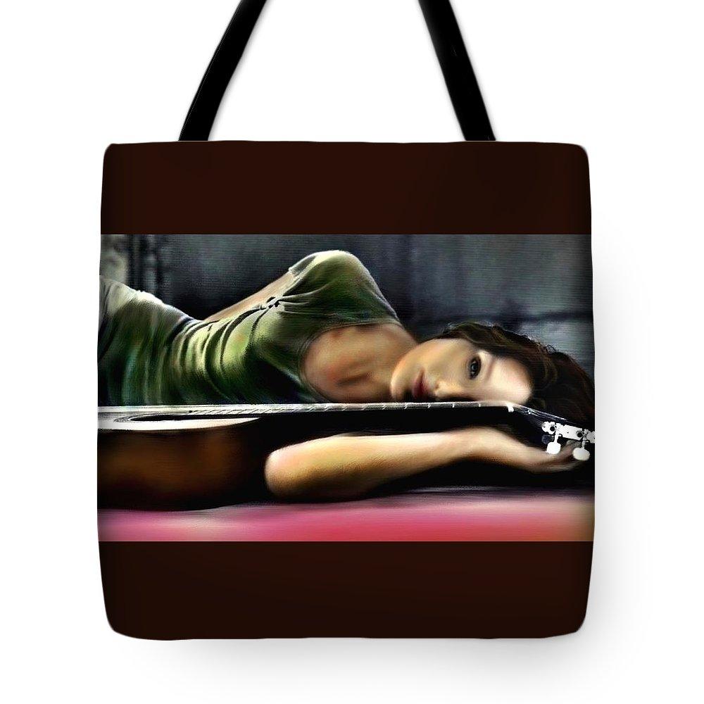 \\\carla Bruni\\\ Tote Bag featuring the digital art Carla Bruni With Guitar by Monica Magallon