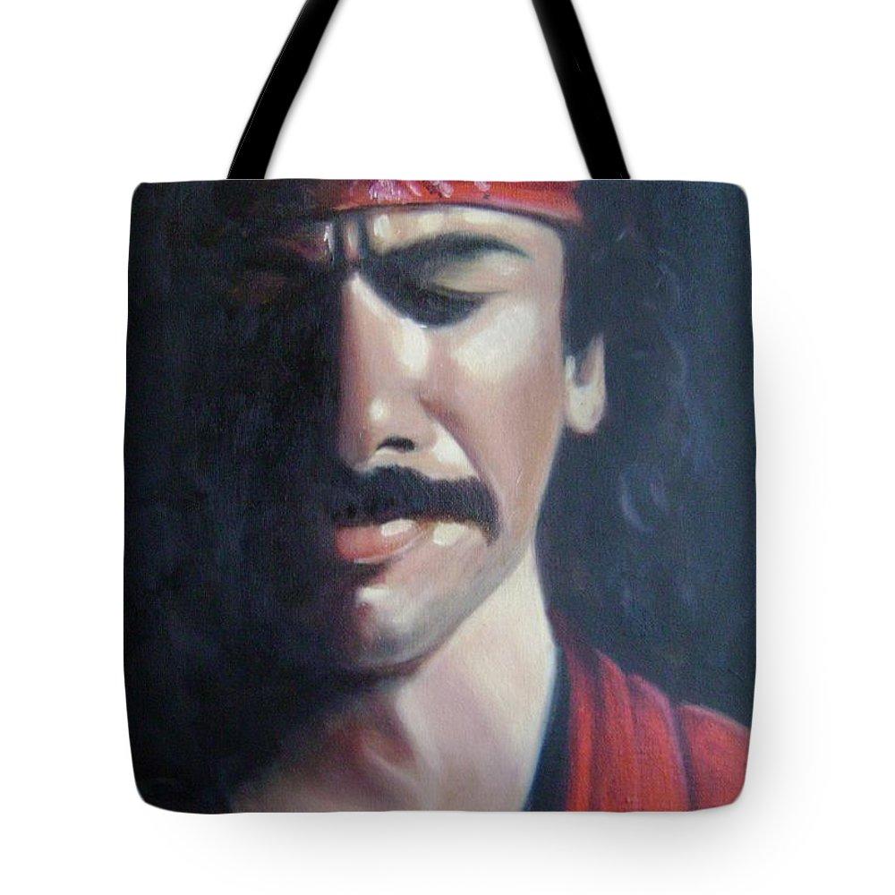 Santana Tote Bag featuring the painting Carlos Santana by Toni Berry