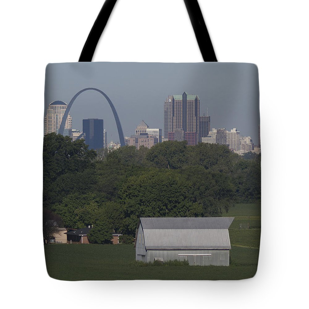 Arch Tote Bag featuring the painting Carl's Barn by Garry McMichael
