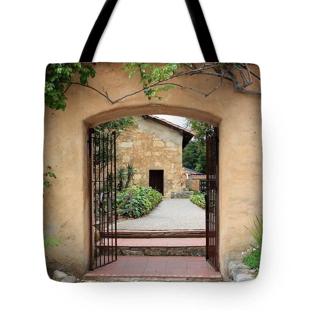 Carmel Mission Tote Bag featuring the photograph Carmel Mission Path by Carol Groenen