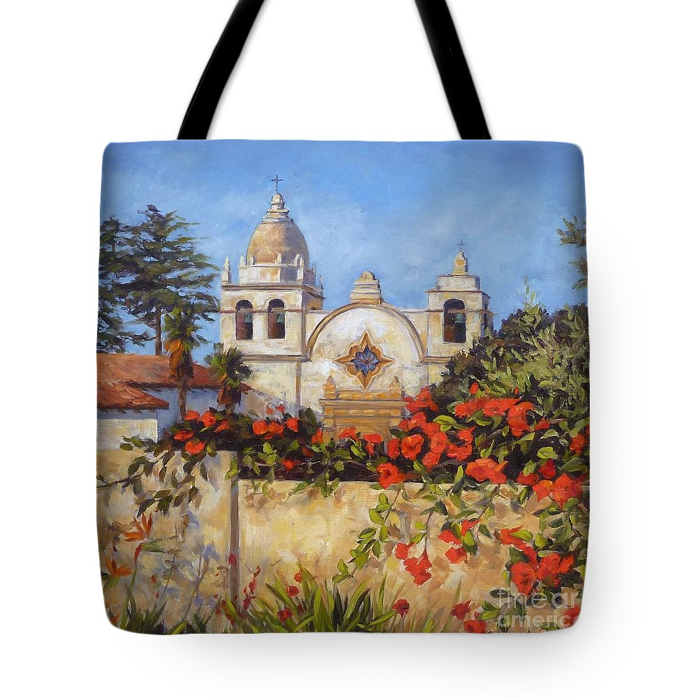 Carmel By The Sea Tote Bag featuring the painting Carmel Mission by Shelley Cost