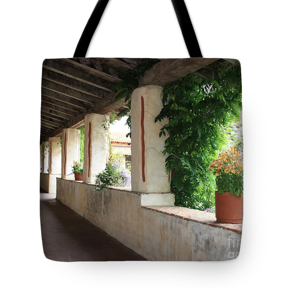 Carmel Mission Walkway Tote Bag featuring the photograph Carmel Mission Walkway by Carol Groenen