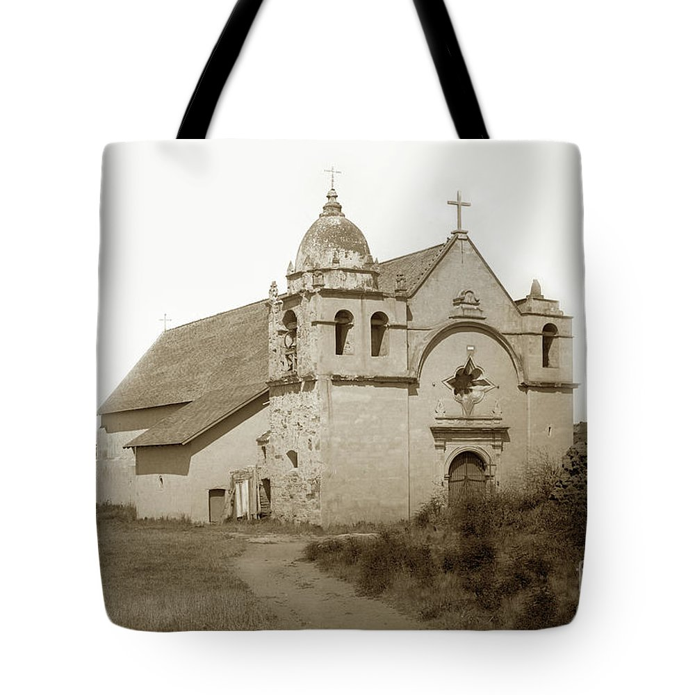 Carmel Mission Tote Bag featuring the photograph Carmel Mission With The New Peaked Roof 1884 by California Views Archives Mr Pat Hathaway Archives
