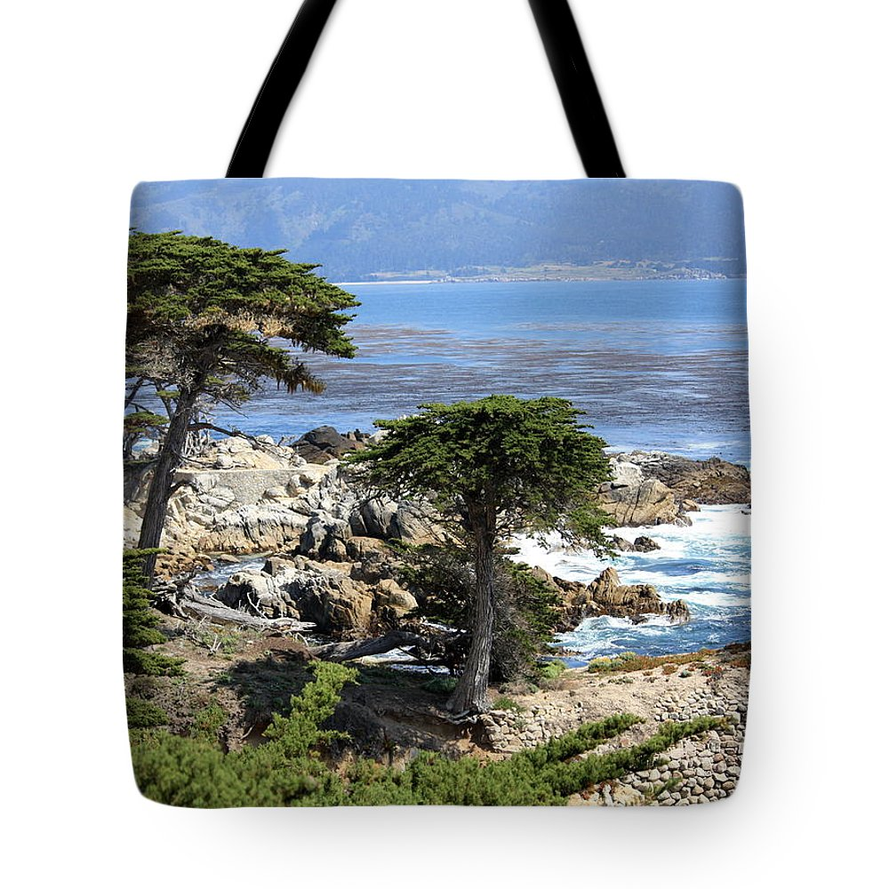 California Tote Bag featuring the photograph Carmel Seaside With Cypresses by Carol Groenen