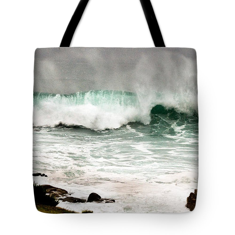 Seascapes Tote Bag featuring the photograph Carmel Wave Rock by Norman Andrus