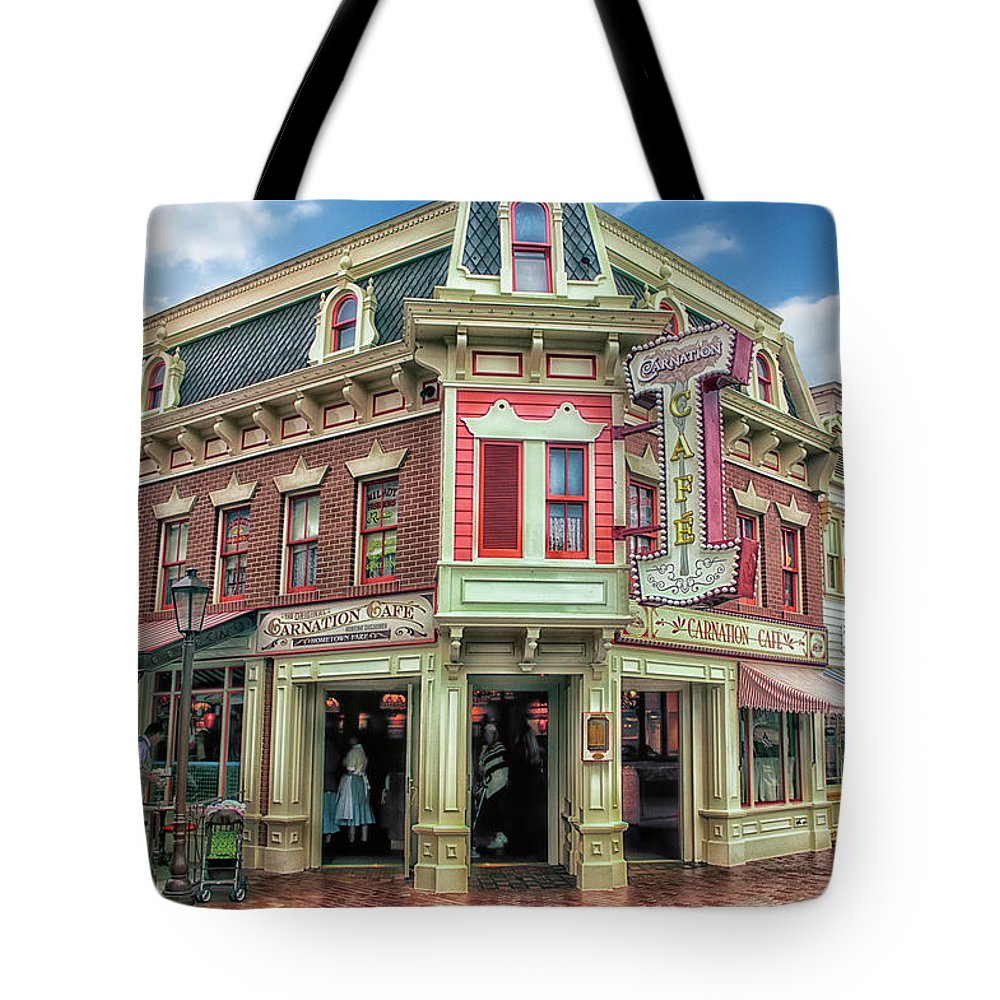 Disney Tote Bag featuring the photograph Carnation Cafe Main Street Disneyland 01 by Thomas Woolworth