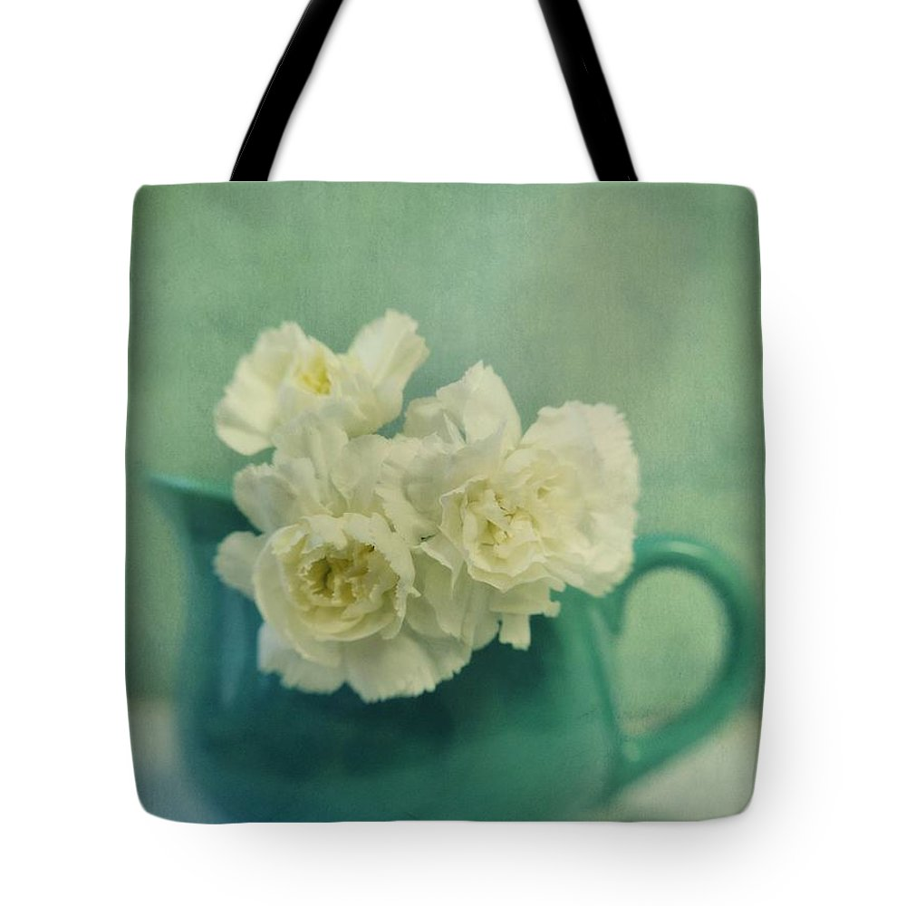 Carnation Tote Bag featuring the photograph Carnations In A Jar by Priska Wettstein
