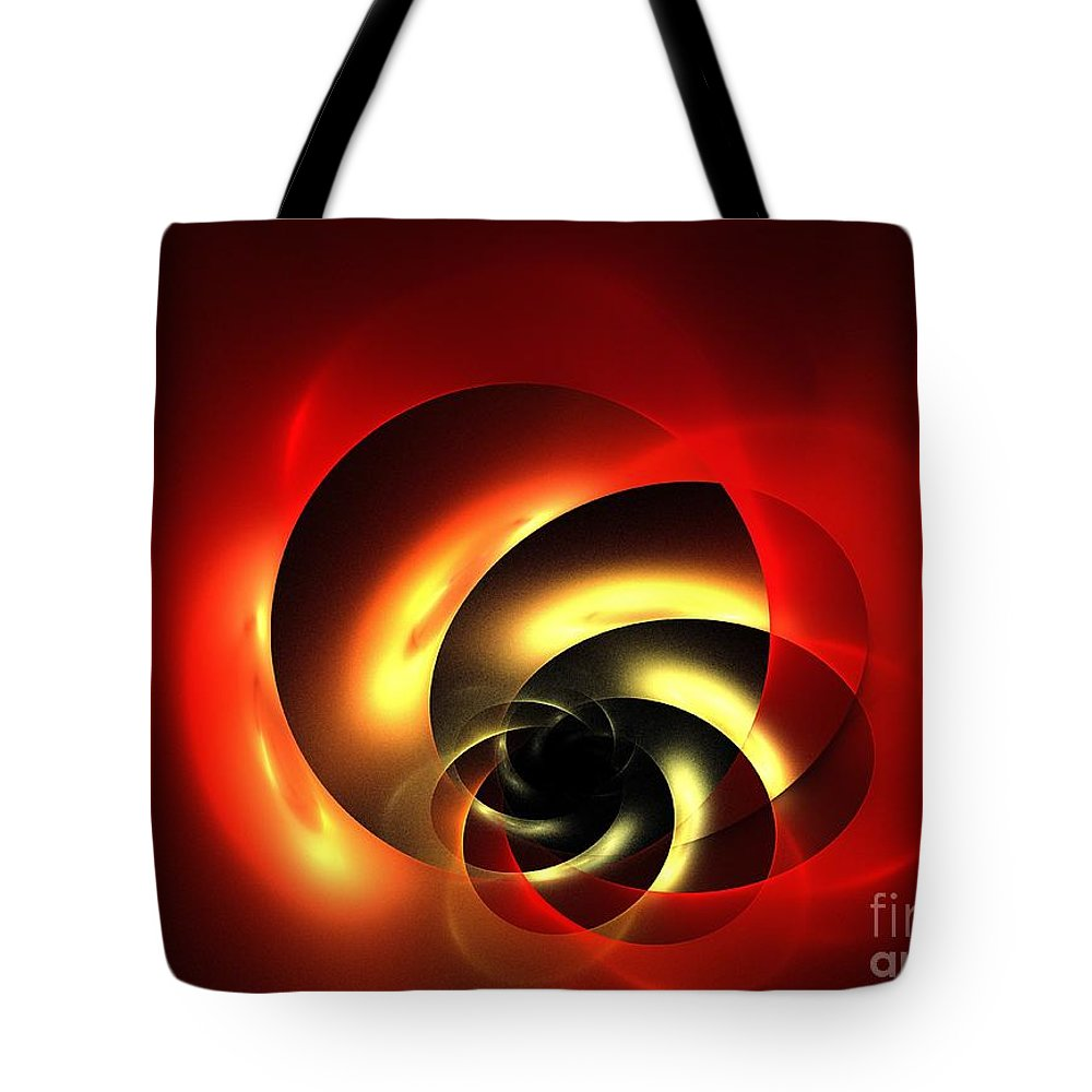 Apophysis Tote Bag featuring the digital art Carnelian Spiral by Kim Sy Ok