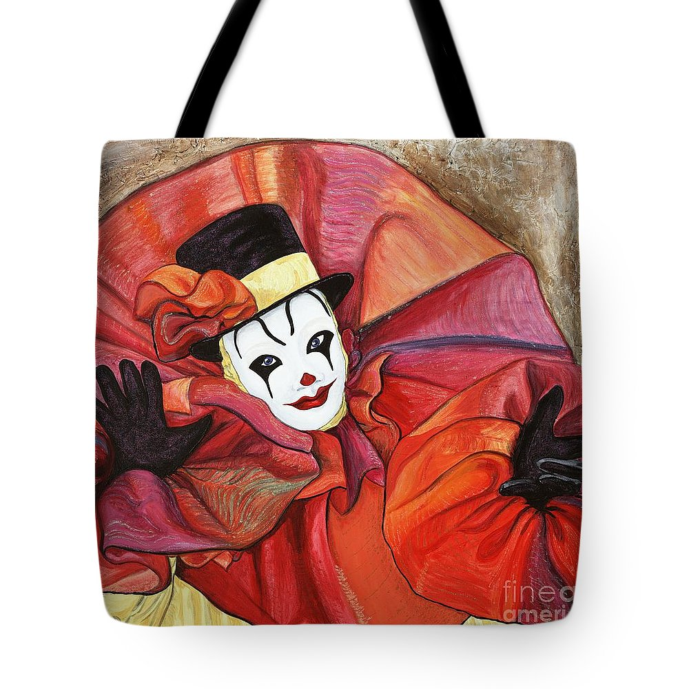 Clown Tote Bag featuring the painting Carnival Clown by Patty Vicknair