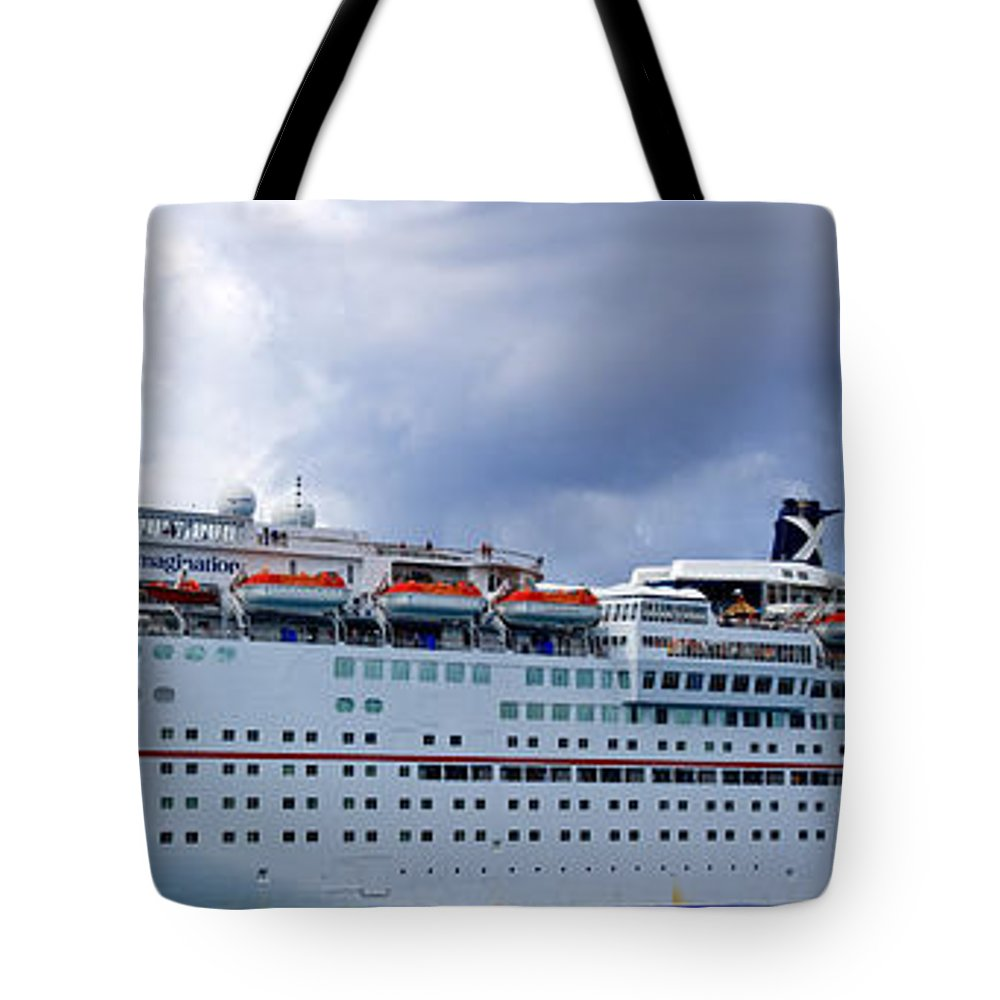 Carnival Tote Bag featuring the photograph Carnival Cruise Ship by Thomas Marchessault