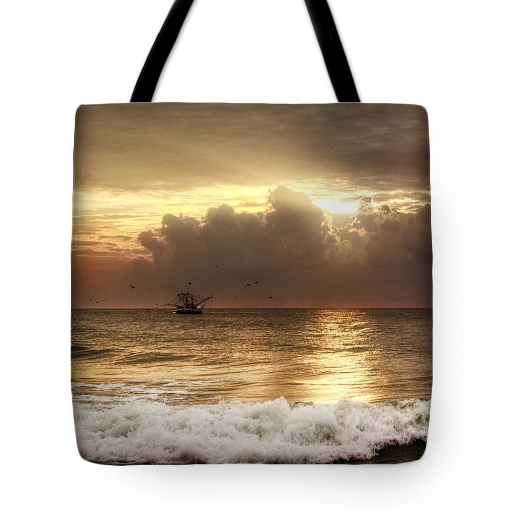 Beach Tote Bag featuring the photograph Carolina Beach Shrimp Boat At Sunrise by Chrystal Mimbs