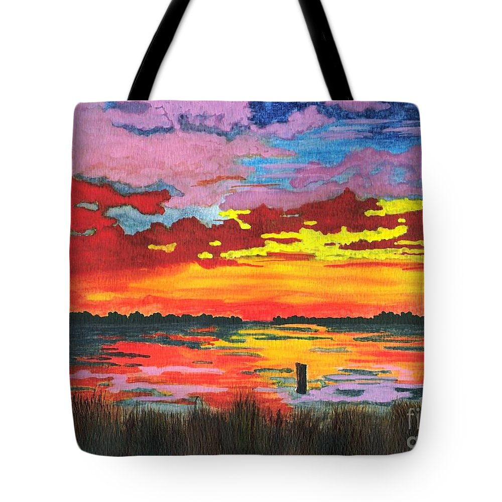 Original Painting Tote Bag featuring the painting Carolina Sunset by Patricia Griffin Brett