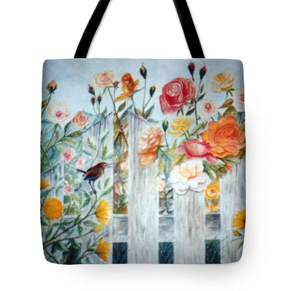 Roses; Flowers; Sc Wren Tote Bag featuring the painting Carolina Wren And Roses by Ben Kiger