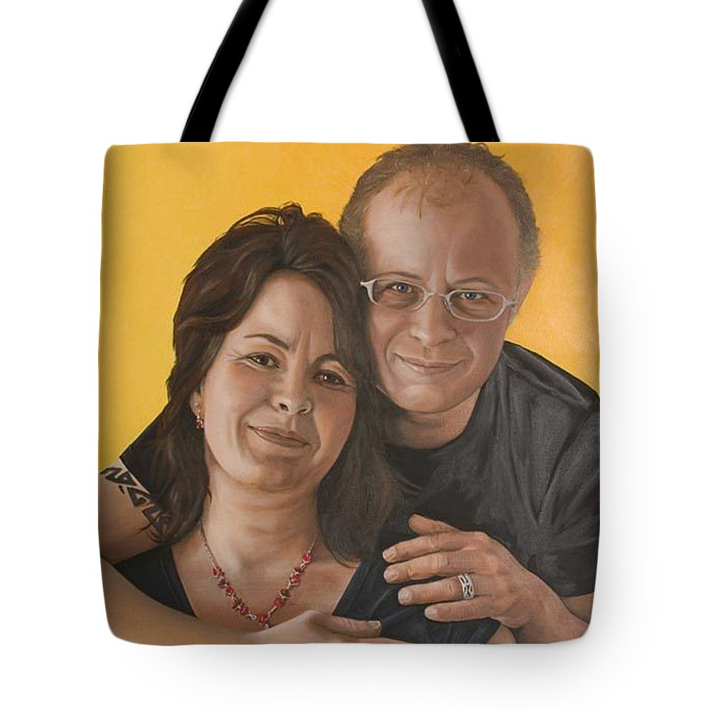 Portrait Tote Bag featuring the painting Caroline And Rob by Rob De Vries