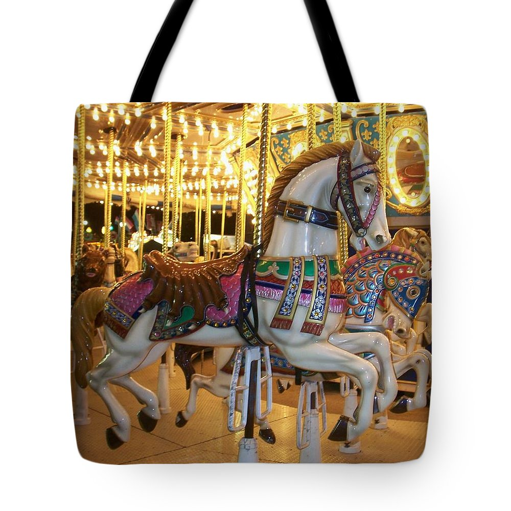 Carosel Horse Tote Bag featuring the photograph Carosel Horse by Anita Burgermeister