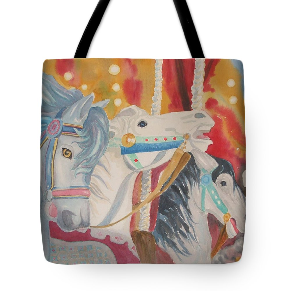 Carousel Tote Bag featuring the painting Carousel 1 by Ally Benbrook
