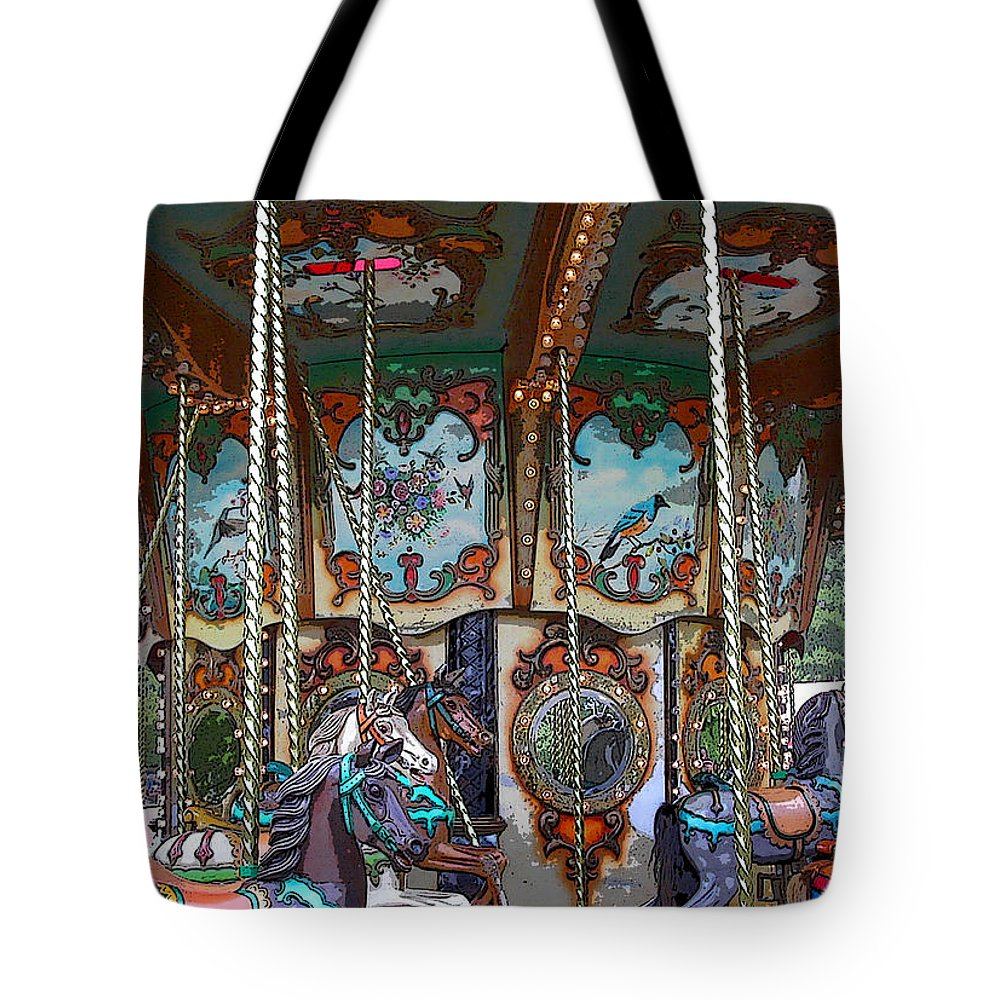 Carousel Tote Bag featuring the photograph Carousel 2 by Anne Cameron Cutri