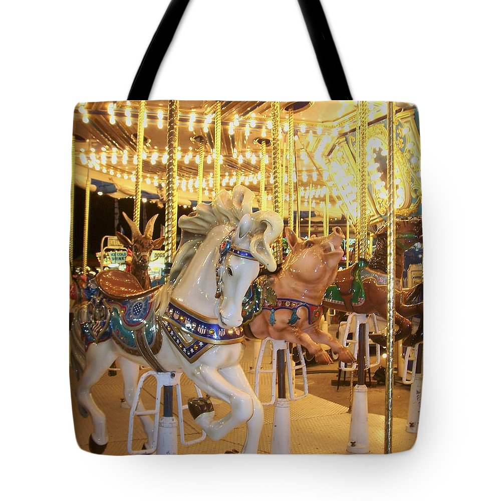 Carosel Horse Tote Bag featuring the photograph Carousel Horse 2 by Anita Burgermeister