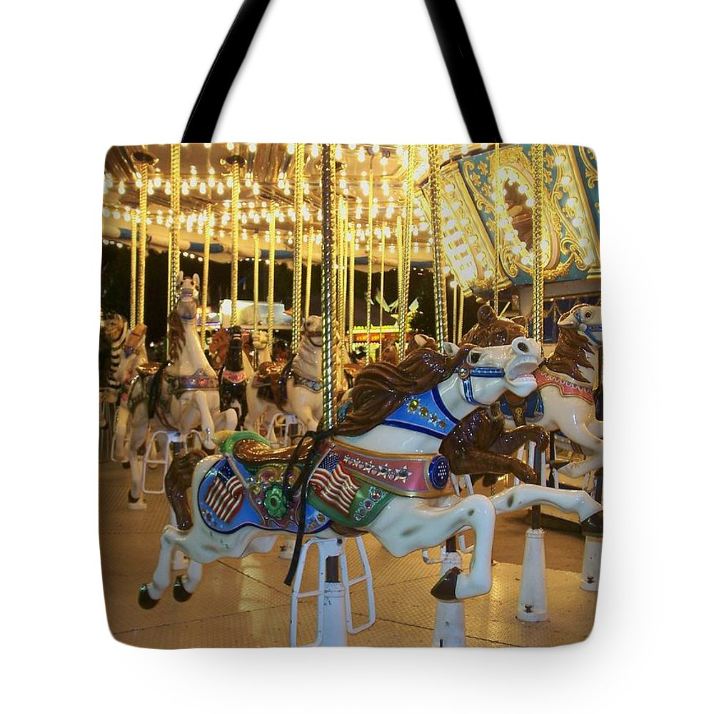 Carousel Horse Tote Bag featuring the photograph Carousel Horse 3 by Anita Burgermeister