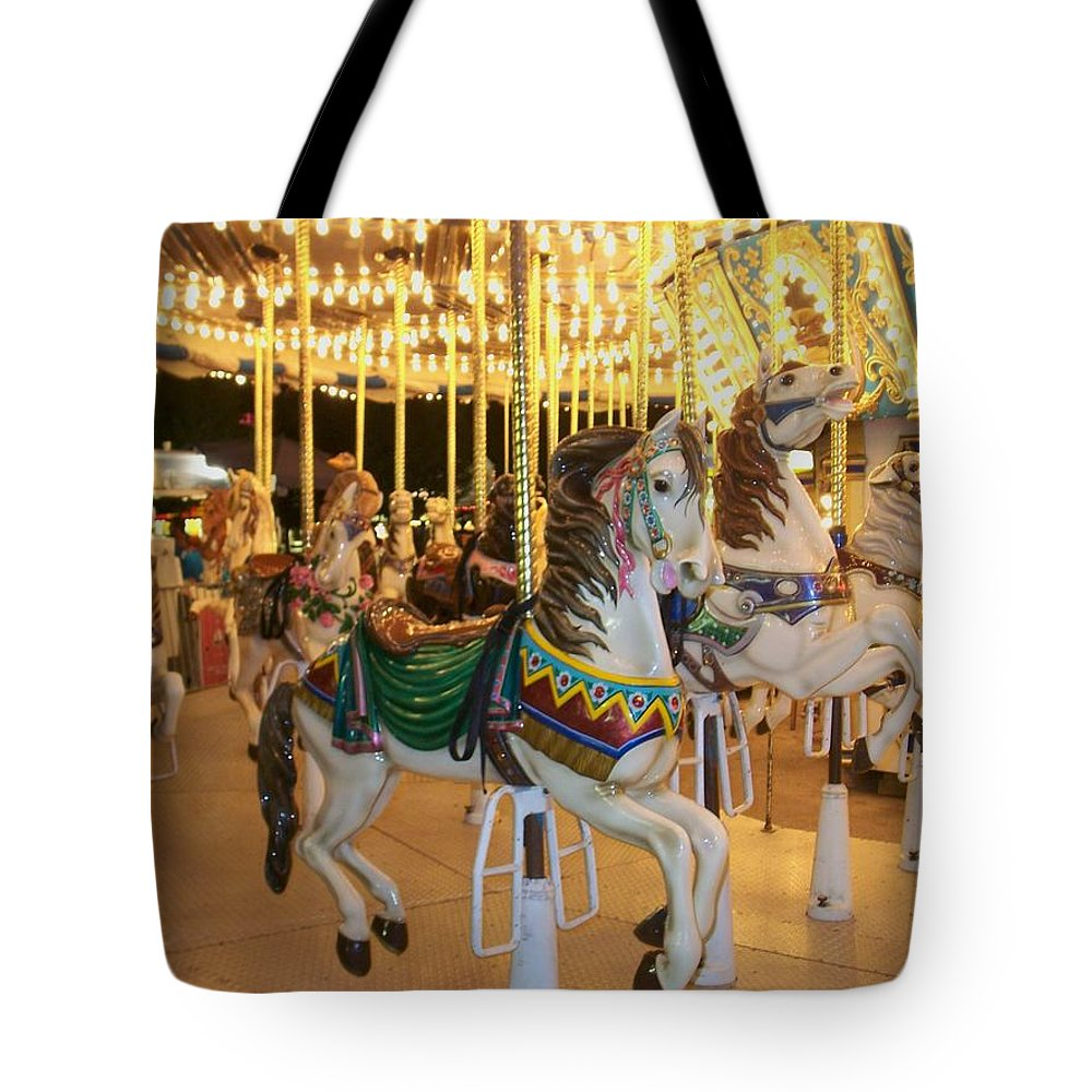 Carousel Horse Tote Bag featuring the photograph Carousel Horse 4 by Anita Burgermeister