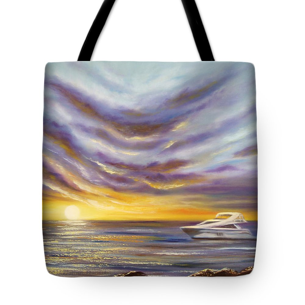 Sunset Tote Bag featuring the painting Carpe Diem by Gina De Gorna