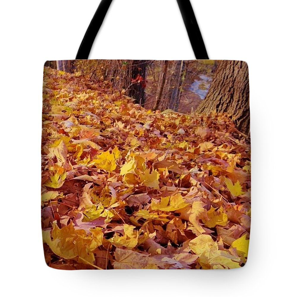 Autumn Tote Bag featuring the photograph Carpet Of Fall Leaves by Deb Rassel
