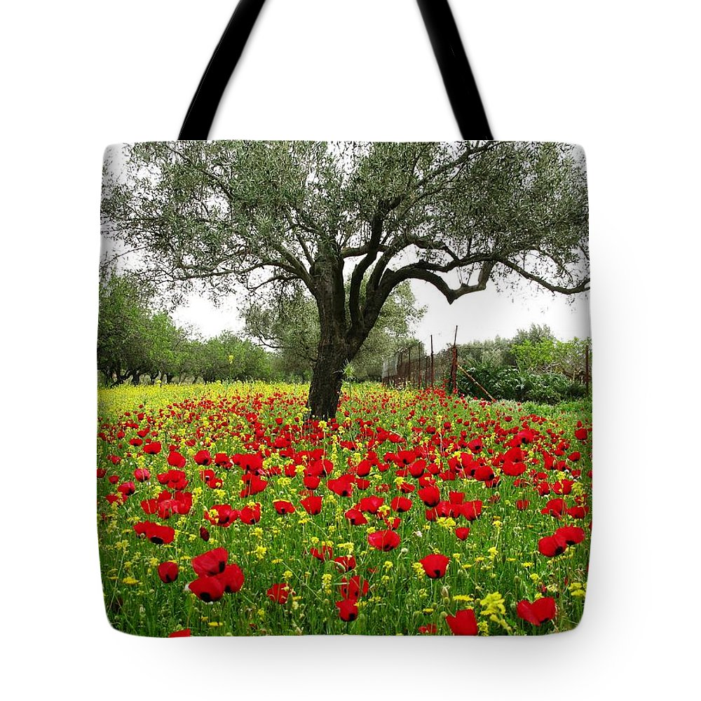 Poppies Tote Bag featuring the photograph Carpet Of Poppies by Andonis Katanos