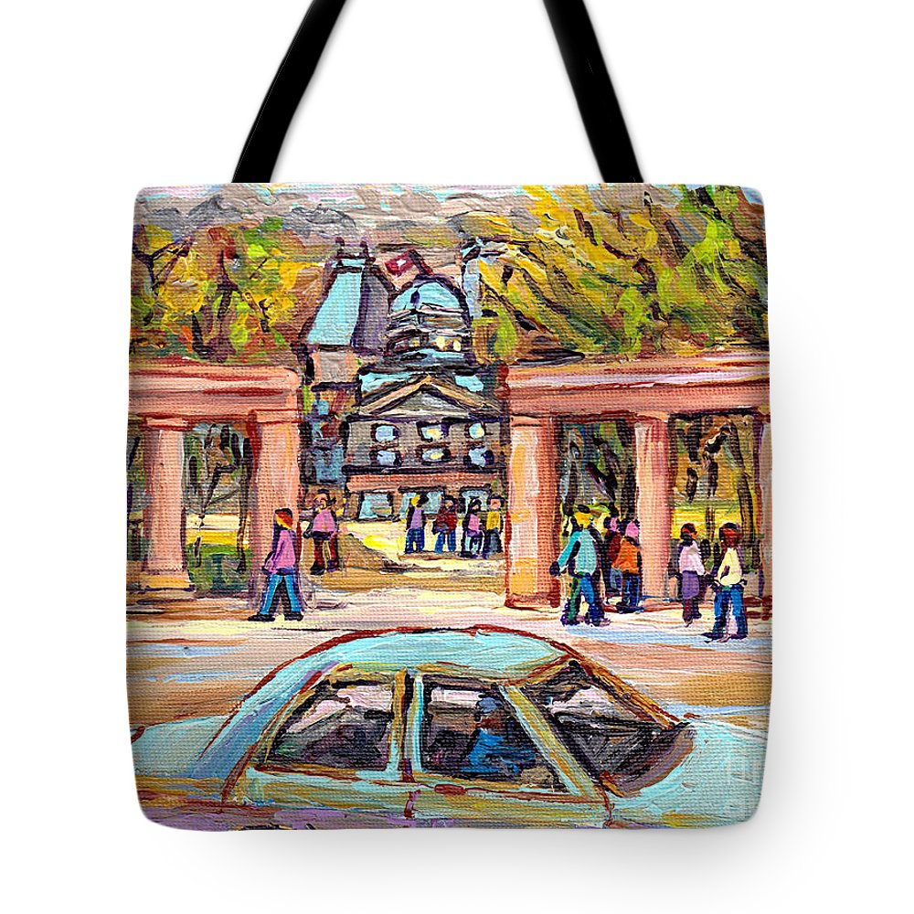 Carpool To School Mcgill University Roddick Gates Paintings For Sale Canadian Artist C Spandau Art Tote Bag