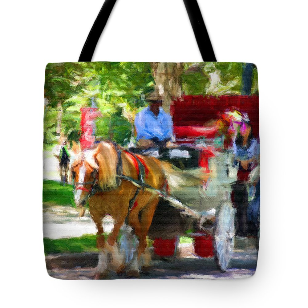 Carriage Horse Tote Bag featuring the photograph Carriage Colors by Alice Gipson