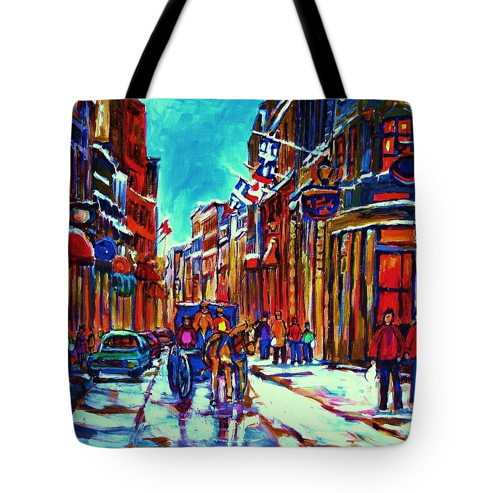 Old Montreal Tote Bag featuring the painting Carriage Ride Through the Old City by Carole Spandau