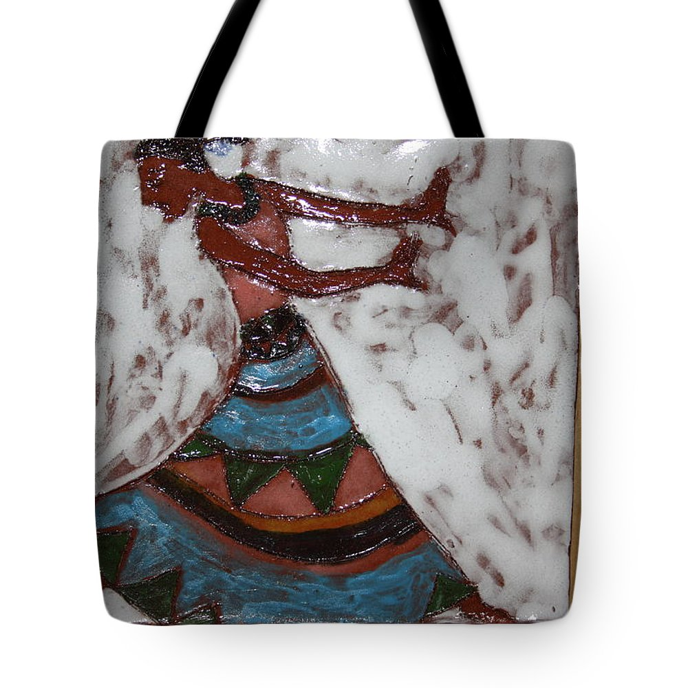 Jesus Tote Bag featuring the ceramic art Carrie - Tile by Gloria Ssali