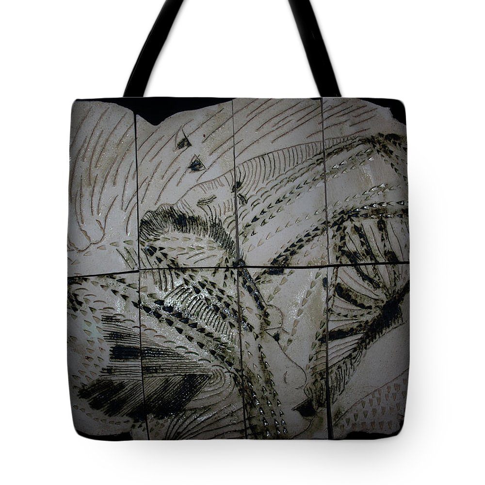 Jesus Tote Bag featuring the ceramic art Carried -plaque by Gloria Ssali