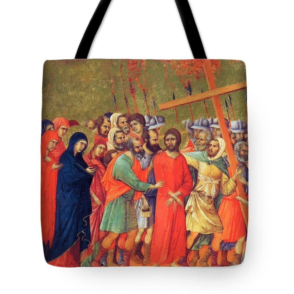 Carrying Tote Bag featuring the painting Carrying Of The Cross 1311 by Duccio
