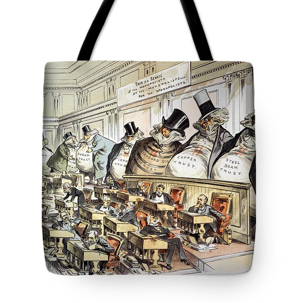 1889 Tote Bag featuring the photograph Cartoon: Anti-trust, 1889 by Granger