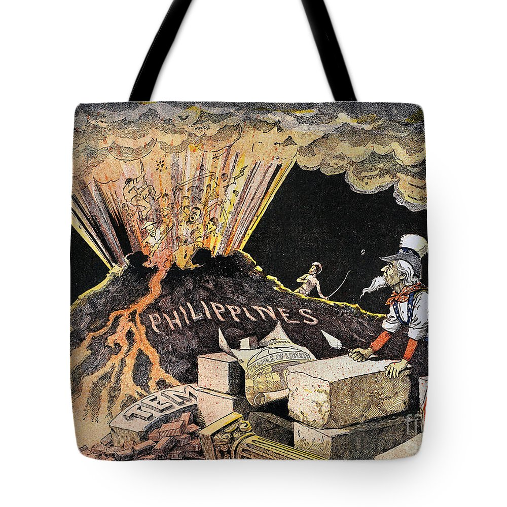 1899 Tote Bag featuring the photograph Cartoon: Philippines, 1899 by Granger