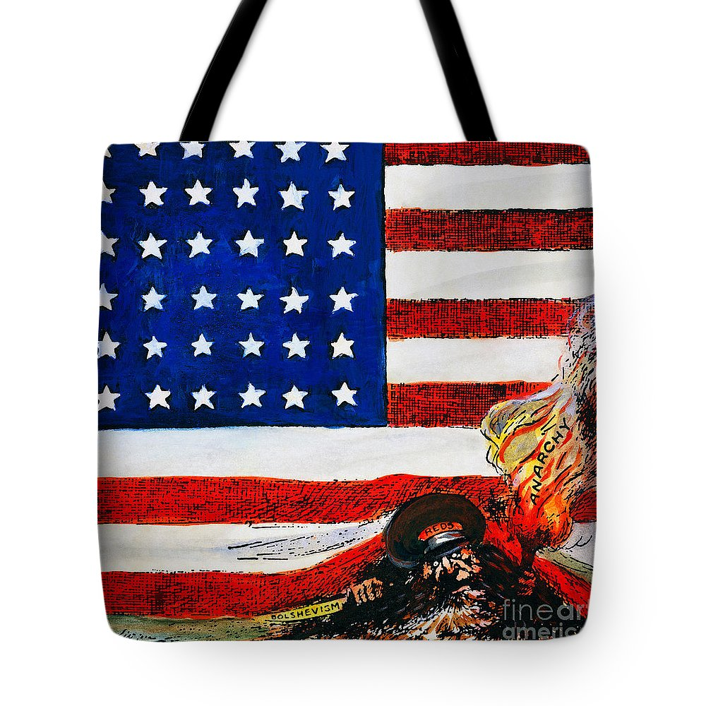 1919 Tote Bag featuring the photograph Cartoon: Red Scare, 1919 by Granger