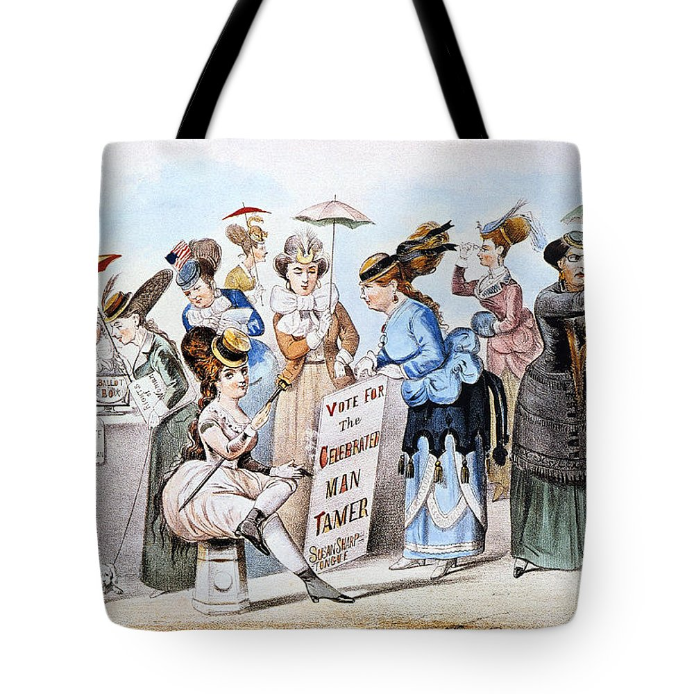 1869 Tote Bag featuring the photograph Cartoon: Womens Rights by Granger