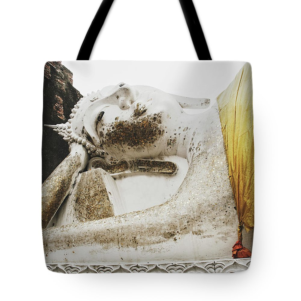 Ancient Tote Bag featuring the photograph Carved Stone Buddha Statue Wat Temple Complex In Old Siam Kingdom, Ayutthaya, Thailand by Srdjan Kirtic