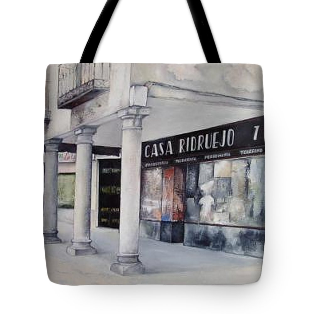 Casa Tote Bag featuring the painting Casa Ridruejo Arevalo by Tomas Castano