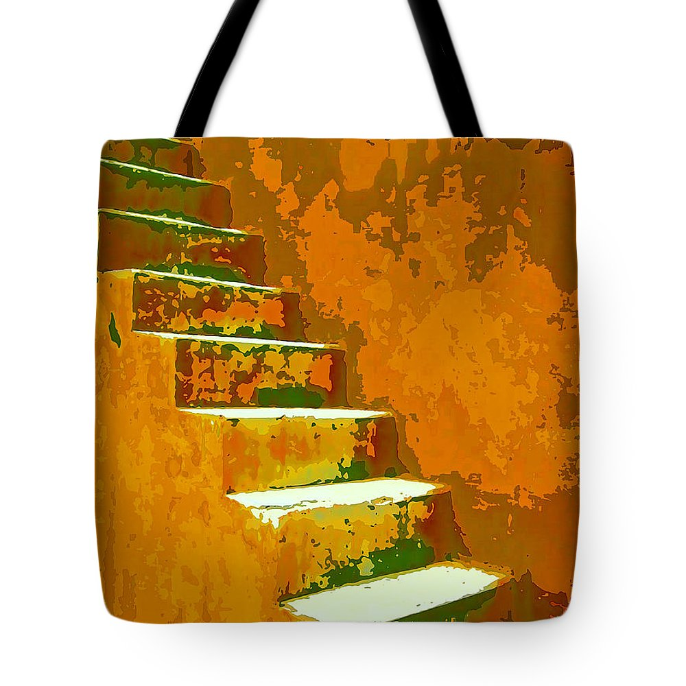 Casablanca Stairway Tote Bag featuring the mixed media Casablanca Stairway by Dominic Piperata