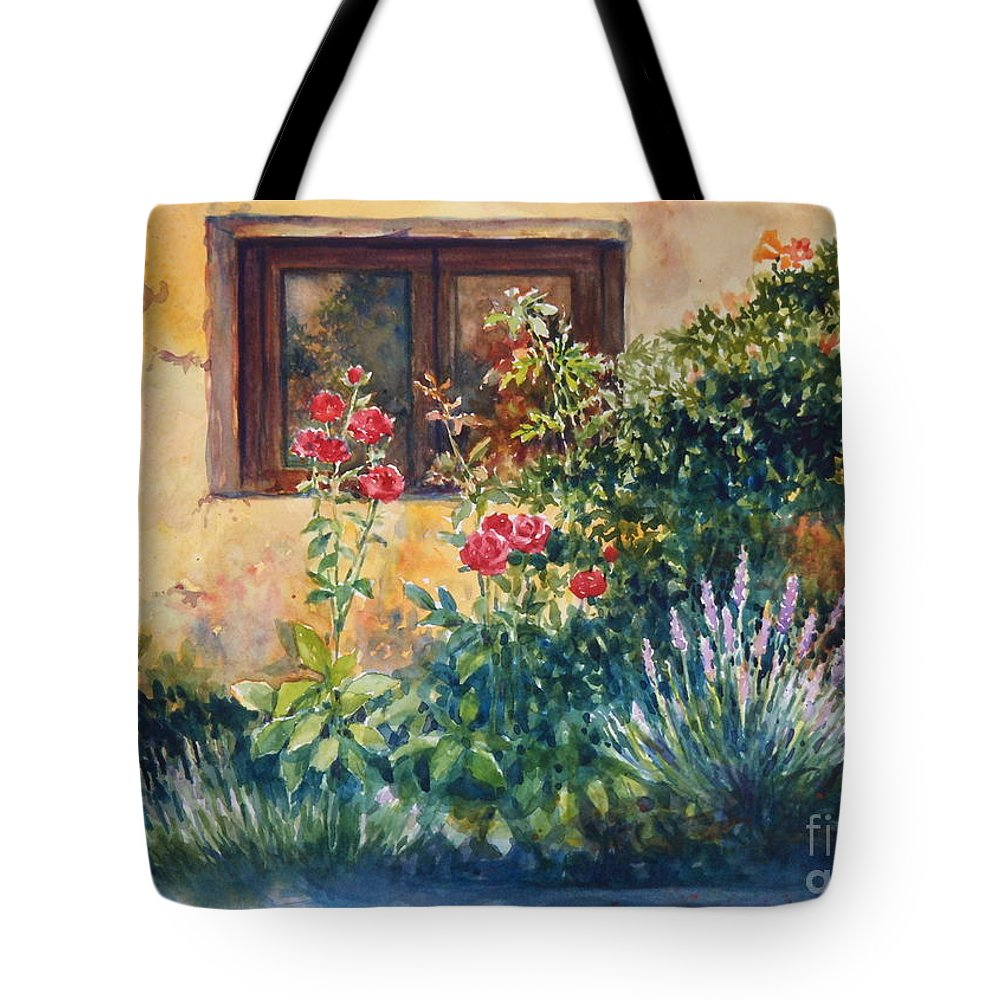 Roses Tote Bag featuring the painting Casale Grande Rose Garden by Ann Cockerill
