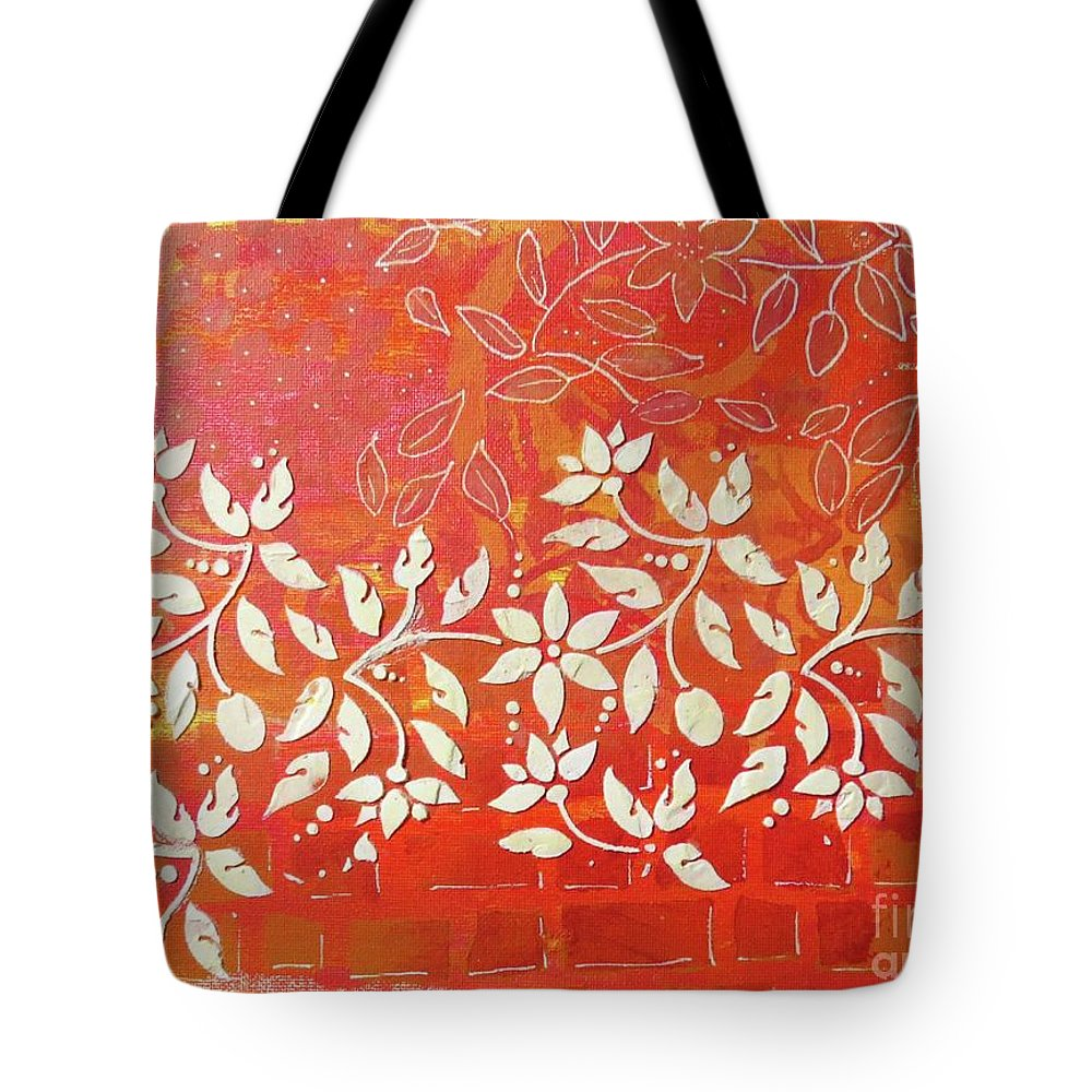 Contemporary Art Tote Bag featuring the mixed media Cascade by Desiree Paquette