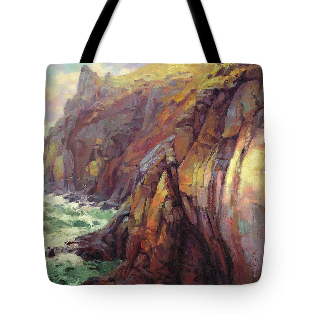 Sea Tote Bag featuring the painting Cascade Head by Steve Henderson