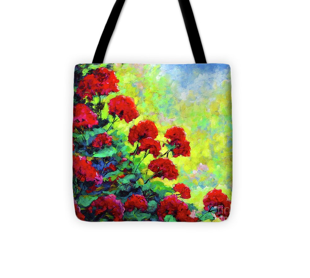 Art Original Tote Bag featuring the painting Cascade Of Geraniums by Richard T Pranke