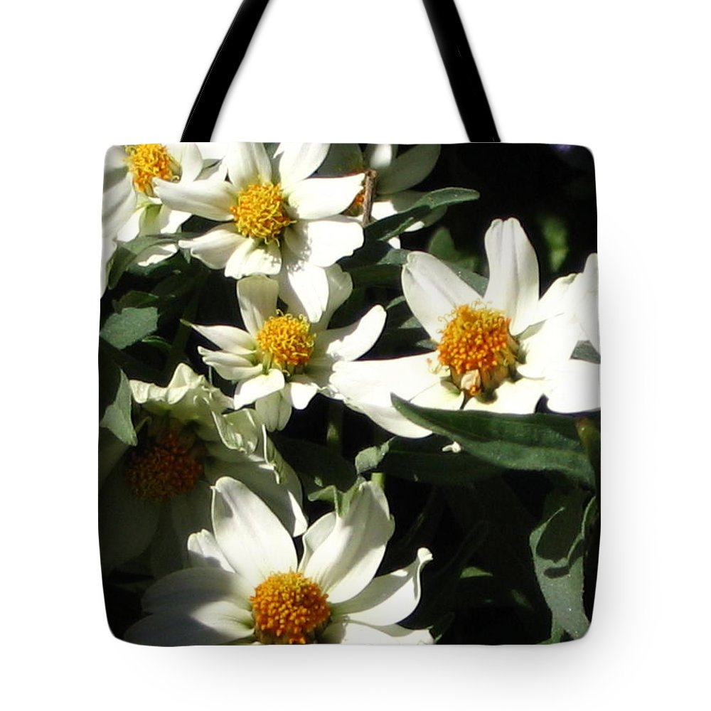 Floral Tote Bag featuring the photograph Cascade Of White Flowers by Line Gagne