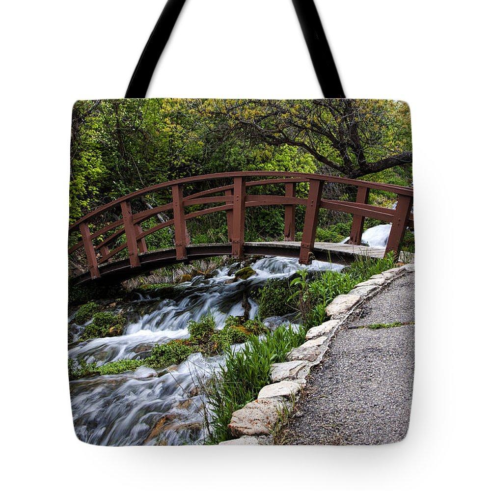 Bridge Tote Bag featuring the photograph Cascade Springs Bridge by Richard Lynch