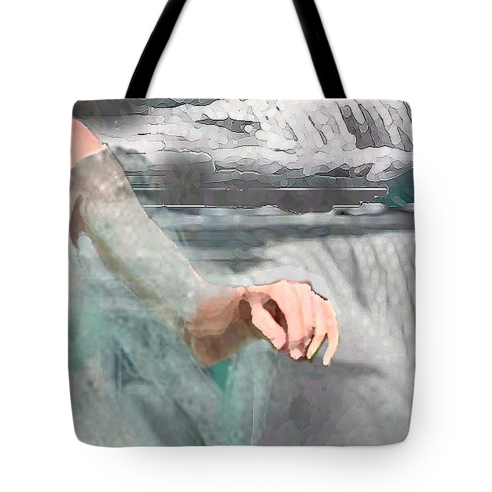 Waterscape Tote Bag featuring the digital art Cascade by Steve Karol