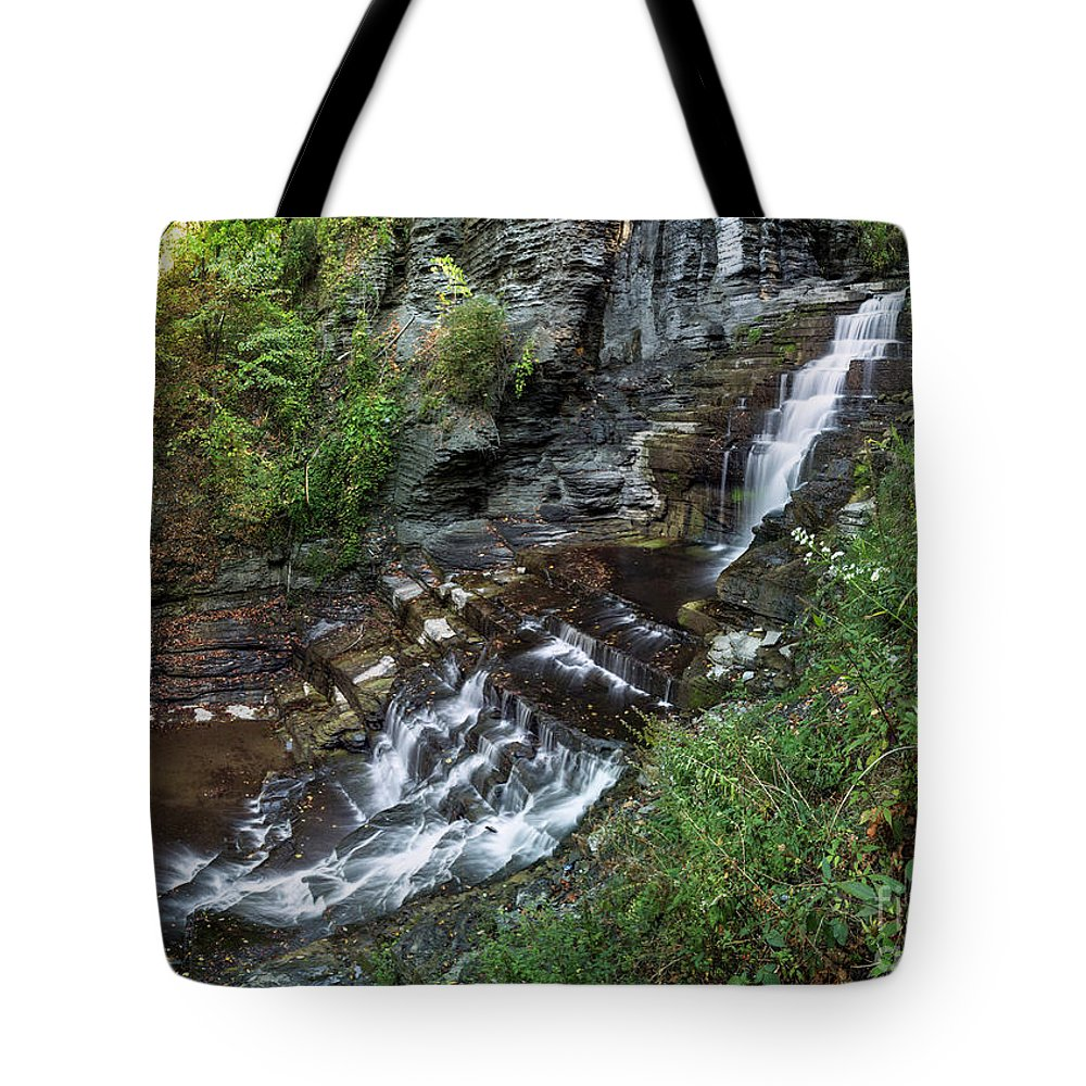 New York Tote Bag featuring the photograph Cascadilla Falls Creek Gorge Trail Giant's Staircase by Karen Jorstad