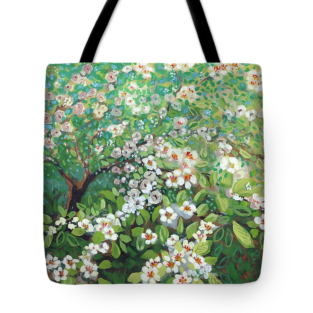 Landscape Tote Bag featuring the painting Cascading by Jennifer Lommers