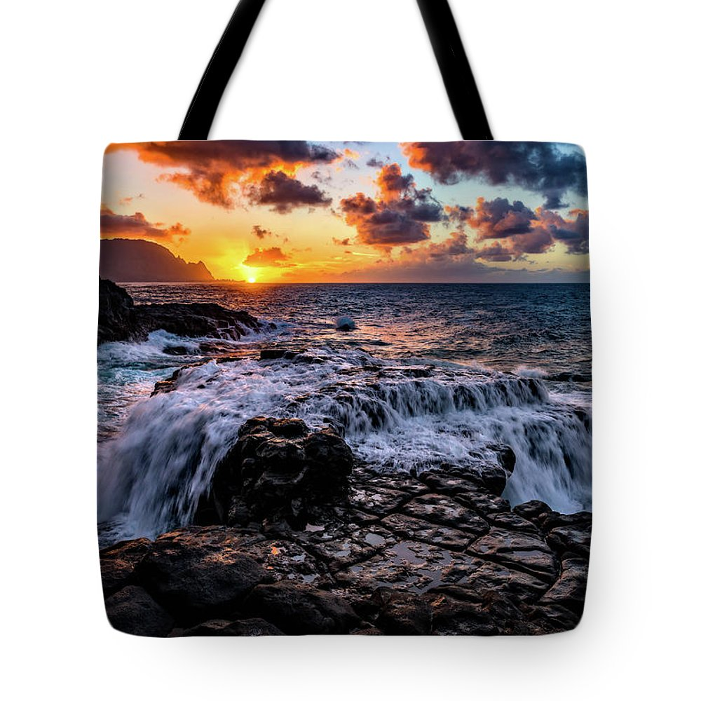 Beach Tote Bag featuring the photograph Cascading Water At Sunset by John Hight